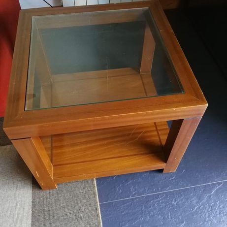 Mesa apoio madeira e vidro