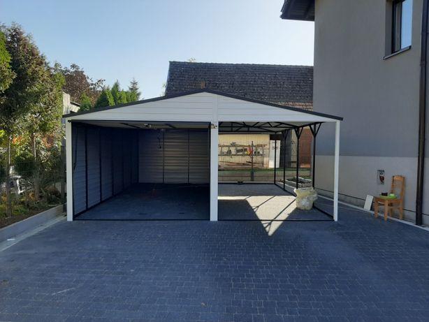 Garaż Blaszany + Wiatka otwarta - Garaże Blaszane , Wiaty , Hale ,