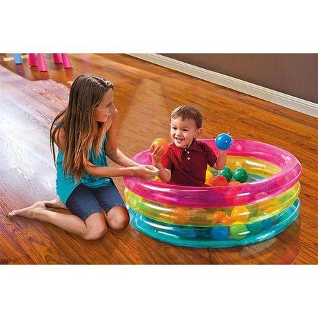 Детский батут, бассейн Intex 48674 +50 шариков.