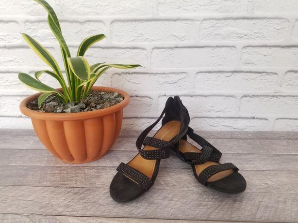 Босоножки кожаные roberto santi, черные босоножки, летние женские босо