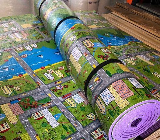 Детский игровой коврик Парковый городок 2 м на 1,2 м 8 мм толщиной