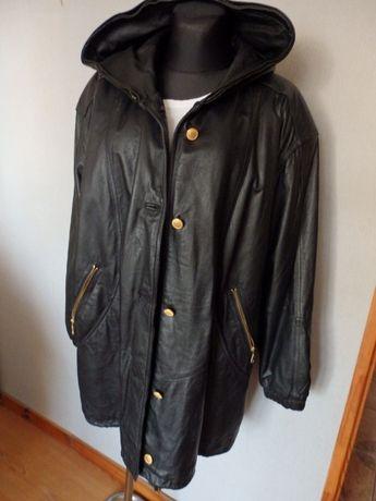 Płaszcz skórzany damski z kapturem kurtka ze skóry naturalnej xxl