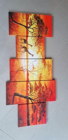 Tryptyk ręcznie malowany