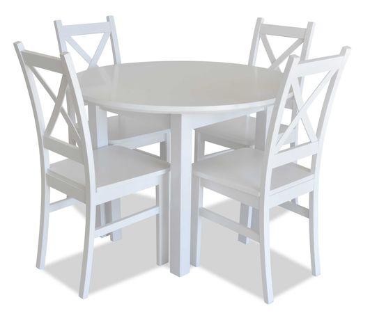 Stół okrągły rozkładany 100+40 + 4 krzesła krzyżak ZD34R