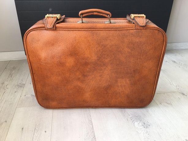 Skórzana torba, walizka retro, idealna do podróży lub do sesji zdj