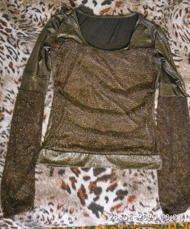 Кофточка блузка золотистая XS-S двойной эффект с сеткой кольчугой