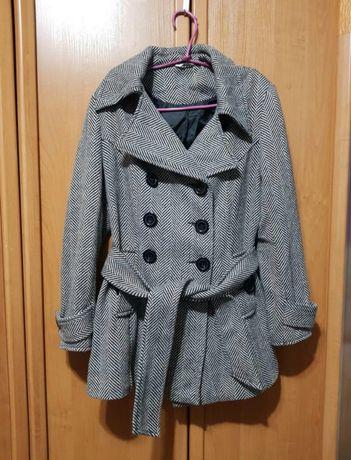 Полушерстяное пальто, осеннее серое пальто ёлочка с поясом
