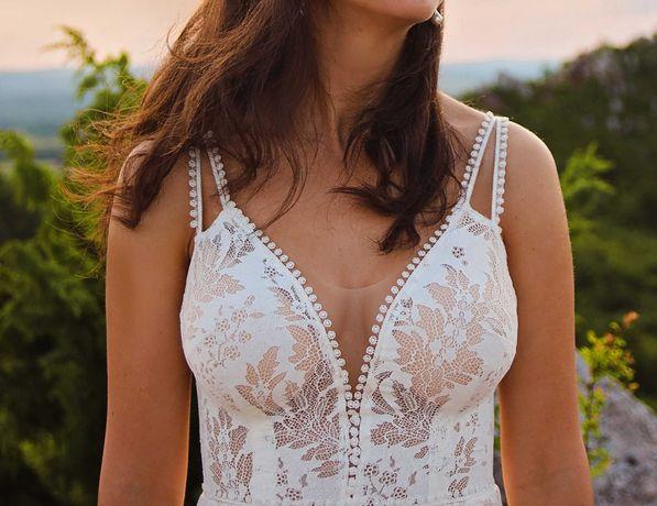 suknia ślubna boho, dopasowana