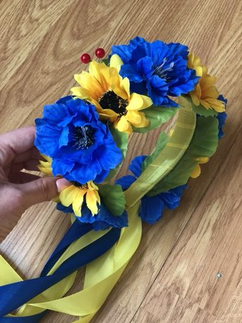 Веночек из цветов, обруч, венок с лентами, вінок з квітів, з стрічками