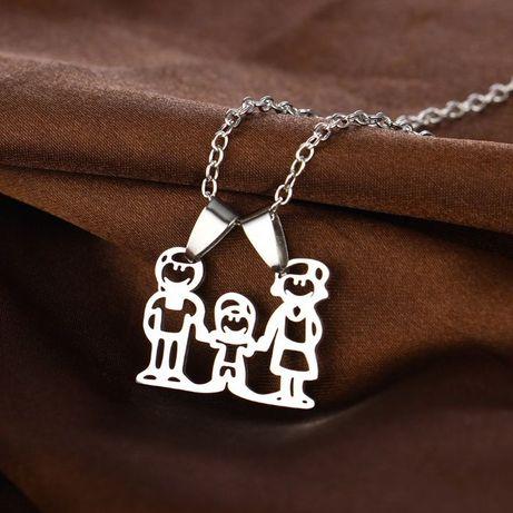 Colar Da Família Banhado a prata com Pingente de Aço Inoxidável