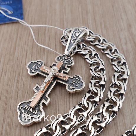 Крупная серебряная цепочка и крестик с золотом. Мужская цепь и крест