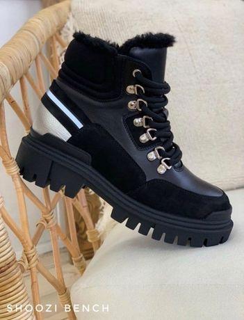 Зимние женские ботинки кожаные Shoozi bench Light черные