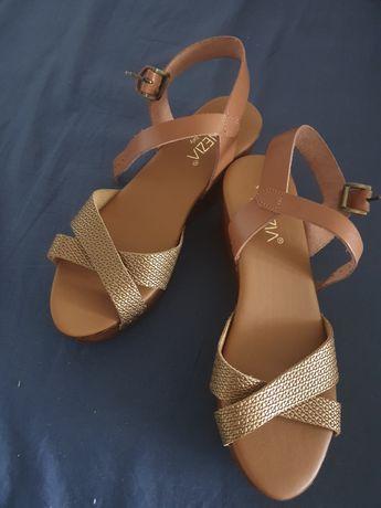 Sandały złote venezia skóra naturalna