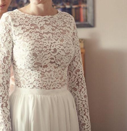 Suknia Ślubna, literka A, koronka, długi rękaw, ecru,