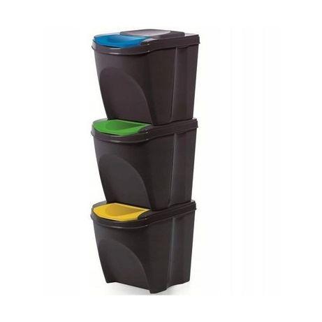Conjunto de 3 caixotes lixo ANTRACITE ECOLÓGICOS 25 LITROS