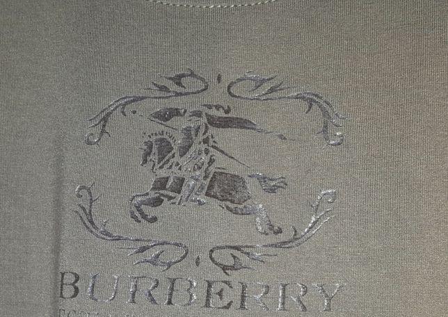 BURBERRY Koszulka bluzka markowa logo odcień zielony jak nowa