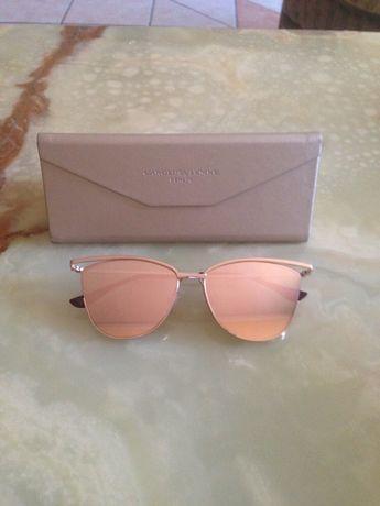 Oryginalne okulary Carolina Lemke złote lustrzanki kocie Kardashian
