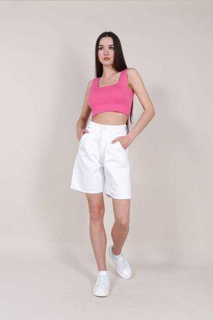 Шорты джинсовые с высокой посадкой белые