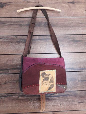 Śladem kota skórzana torba retro vintage torebka hand made