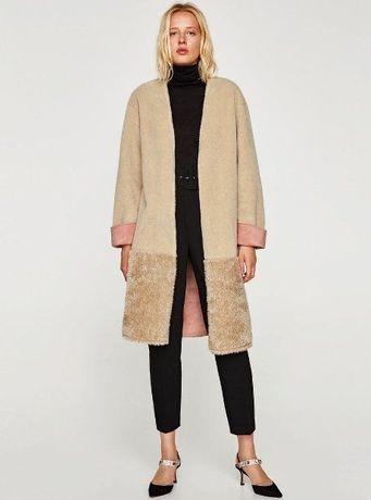 Бежевая шуба, пальто меховое , розовая подкладка zara!