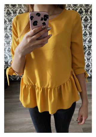 Żółta/musztardowa bluzka z falbanką i kokardą. Falbanka Baskina