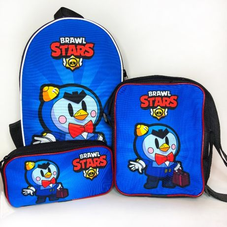 Рюкзак, сумка та пенал в наборі Бравл Старс! Брелок у подарунок!