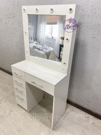 Стол для макияжа с вместительными ящиками и зеркалом