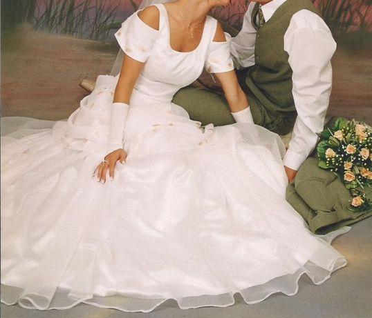 Biała suknia ślubna w łososiowe listki GALA r.38