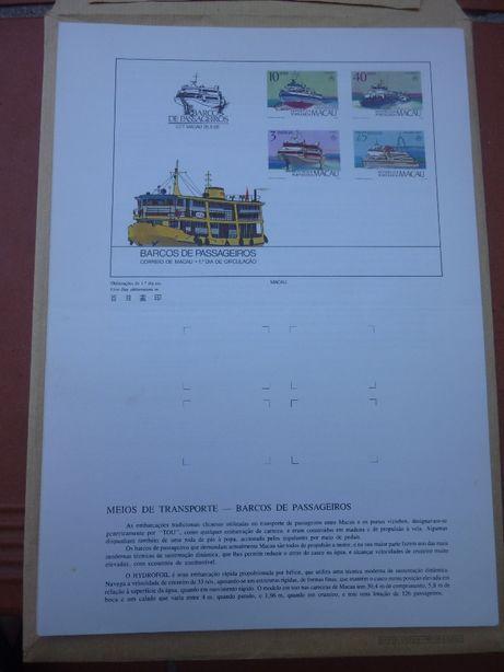 Conjunto de Pagelas de Selos de Macau