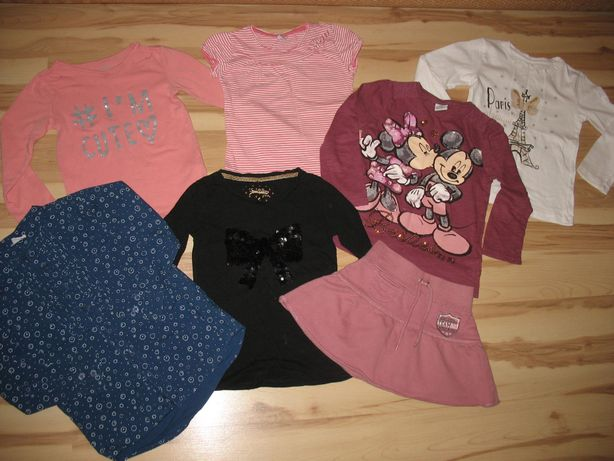 Bluzki dla dziewczynki 4 szt. + spódniczka w roz. 104