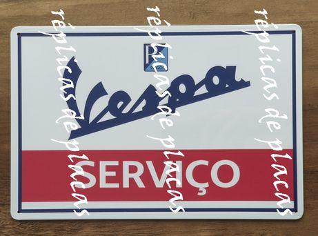 Vespa Serviço Réplica de placa metálica publicidade 30x20 cm Vintage