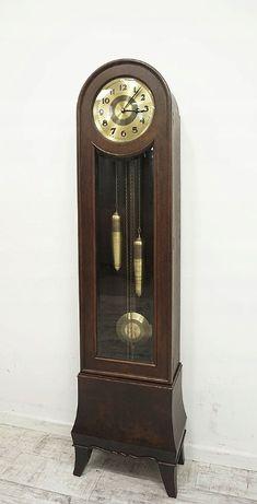 Antyczny zegar z lat 20 - tych. z drewna dębowego oraz orzechowego