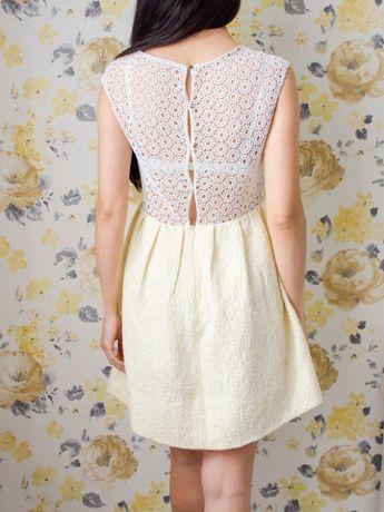 Красивое платье с кружевной вставкой Mango, р. S