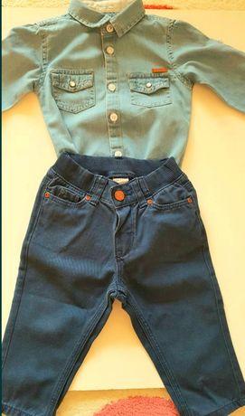 Śliczny zestaw spodnie koszula 68