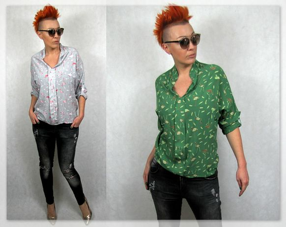 Włoskie oryginalne bluzki koszulowe M/L Flamingi Napisy Nowa Kolekcja