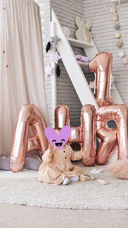 БОЛЬШИЕ фольгированные шары. Шарики розовое золото. На годик.