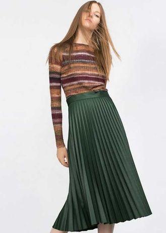 Темно-Зеленая плиссированная юбка Zara