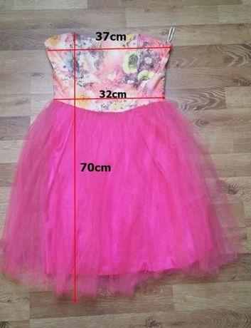 Różowa tiulowa rozkloszowana sukienka wesele, studniówka