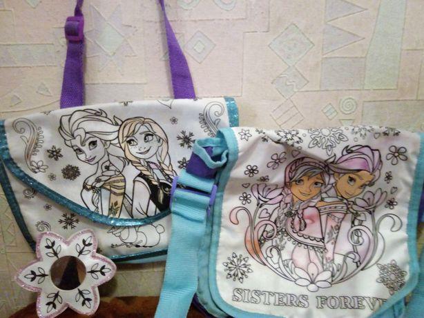 Frozen набор:сумка, косметичка, зеркальце раскраска Дисней, оригинал