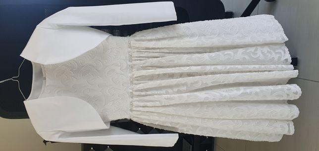 Sukienka komunijna, bolerko, wianek, buty