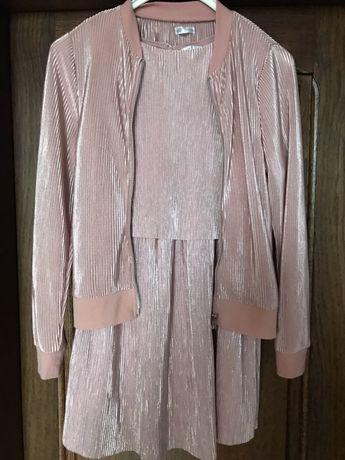 Sukienka dziewczęca plisowana plus rozpinana bluza 134