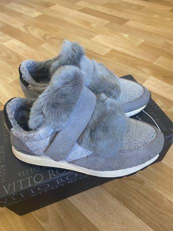 Кроссовки Brunello Cucinelli с мехом, ботинки с мехом кролика, 37р.