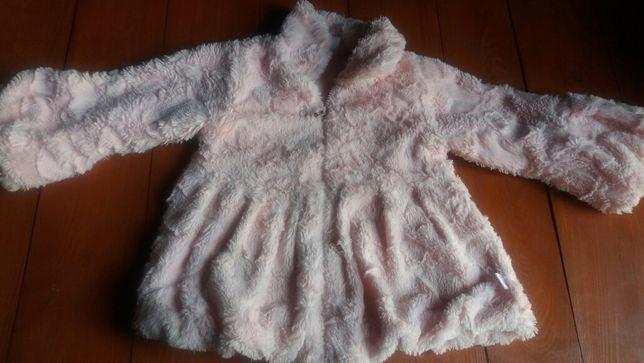 Różowe mini futerko dla dziewczynki r 92-98