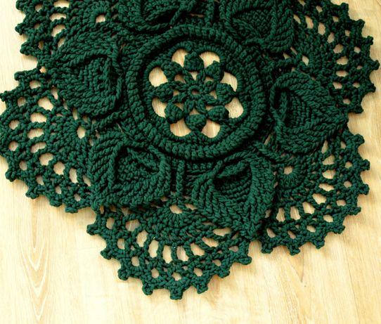 Dywan ze sznurka butelkowa zieleń handmade 92 cm