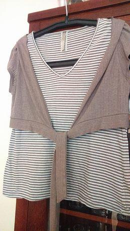 Bluzka bawełniana w paski z narzutką-bolerko wiązane XL