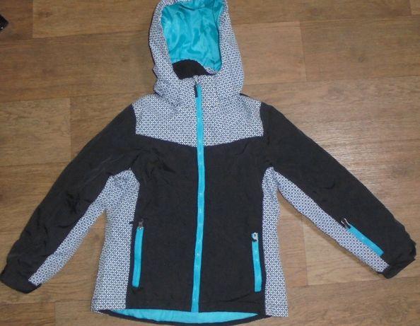 Зимняя термо куртка курточка tech tex crane черная с белым и бирюзовая