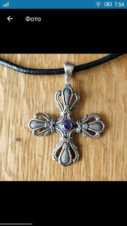 Серебрянный крестик с аместистом натуральным