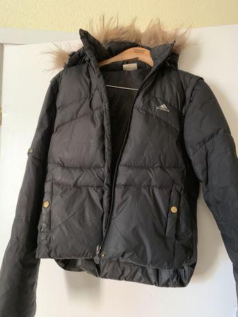 Куртка пуховик Adidas трансформер жилетка чёрная