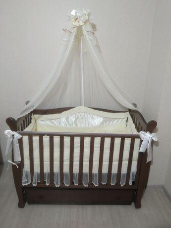Кроватка Верес с постелькой, детская кровать маятник+ящик
