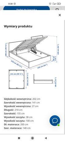 Łóżko Malm IKEA 140x200 z dużym pojemnikiem